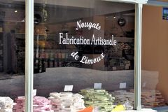 Shop window of nougats of Limoux Royalty Free Stock Image