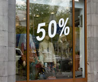 Shop window with percent numbers Royalty Free Stock Image