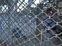 Shop window protected by iron bars security shutter Royalty Free Stock Photo