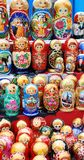 Shop window with set of russian dolls Royalty Free Stock Photo