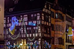 Shop-window and street decoration of Strasbourg before Christmas Stock Images