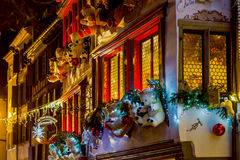 Shop-window and street decoration of Strasbourg before Christmas Stock Photography