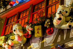 Shop-window and street decoration of Strasbourg before Christmas Royalty Free Stock Images
