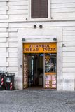 Shop window of a Turkish kebab restaurant in Rome, Italy. Rome, Italy - April 3, 2019: Shop window of a Turkish kebab restaurant in Rome, Italy royalty free stock image