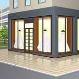 Shop window with wedding dresses Royalty Free Stock Image