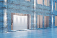Shop window with a white empty billboard at evening, mock up, 3D Royalty Free Stock Image