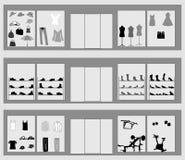Shop windows. Different product mix vector illustration