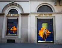 Shop windows of a Louis Vuitton shop in Milan - Montenapoleone area, Italy. royalty free stock image