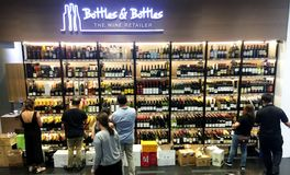 Shop of Wine Bottles Royalty Free Stock Images