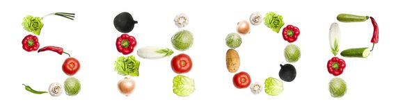 Shop word made of vegetables Royalty Free Stock Photos