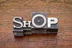 Shop word in metal type Stock Image