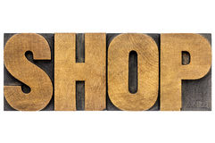 Shop word in wood type Stock Images