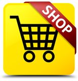 Shop yellow square button red ribbon in corner. Shop isolated on yellow square button with red ribbon in corner abstract illustration Royalty Free Stock Photo