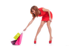 Shopaholic女孩 库存照片
