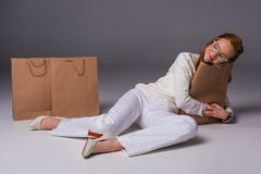 Shopaholic stock afbeeldingen