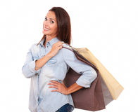 Shopaholic adult lady with her paper bags Stock Photography
