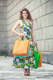 shopaholic Amore di acquisto Bella donna felice con le borse Fotografia Stock
