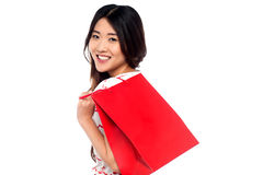 Shopaholic attractive asian girl Stock Images