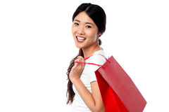 Shopaholic attractive asian girl Stock Image
