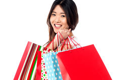 Shopaholic attractive asian girl Royalty Free Stock Image
