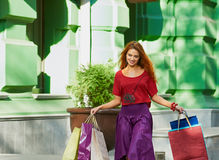 Shopaholic charm woman Stock Photos