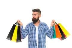 shopaholic czarny Piątek Cyber Poniedziałek Zakupy sprzedaż Męska fryzjer męski opieka Dojrzały modniś z brodą Brodaty mężczyzna  obraz stock