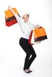 Shopaholic ectático fotografia de stock royalty free