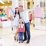 Shopaholic family at the mall Royalty Free Stock Photos