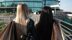 Shopaholic females walking on bridge at sunset. Closeup back view of two beautiful women with long hair holding shopping bags over their shoulders strolling on stock video footage