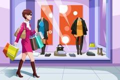 Shopaholic flicka royaltyfri illustrationer
