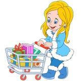 Shopaholic flicka för gullig tecknad film på försäljningen Arkivbild
