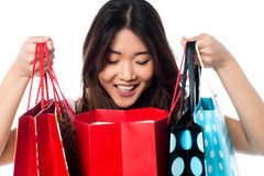 Shopaholic girl holding shopping bags Stock Images