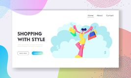 Shopaholic Girl with Purchases in Bags. Happy Woman with Shopping Packs. Buyer Have Fun Doing Shopping. Seasonal Sale. Discount Website Landing Page, Web Page stock illustration