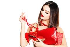 Shopaholic Girl on White Royalty Free Stock Photos