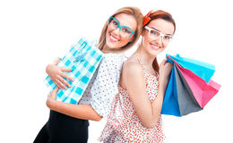Shopaholic girlfriends Royalty Free Stock Images