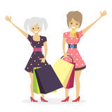 Shopaholic girls. Women with bags after shopping from the store. Shopaholic girls. Women with bags after shopping from store. Character vector illustration flat stock illustration