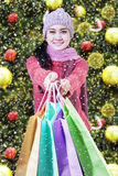 Shopaholic giving shopping bags Royalty Free Stock Images