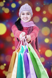 Shopaholic holds shopping bags Royalty Free Stock Images
