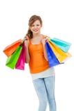 Shopaholic joven atractivo feliz Foto de archivo libre de regalías