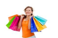 Shopaholic joven atractivo feliz Fotografía de archivo