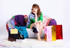 Shopaholic kobieta z zakupami Fotografia Stock
