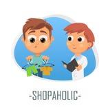 Shopaholic läkarundersökningbegrepp också vektor för coreldrawillustration Royaltyfria Foton