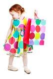 Shopaholic liten flicka arkivbilder