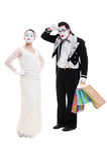 Shopaholic Pantomimen Lizenzfreie Stockfotos