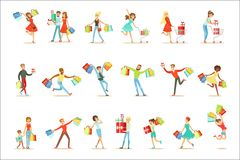 Shopaholic People Happy And Excited Running With Paper Shopping Bags Smiling Carton Characters Collection. Vector Illustrations With Man And Women Addicted To vector illustration