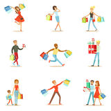 Shopaholic People Happy And Excited Running With Paper Shopping Bags Smiling Carton Characters Collection Stock Photography