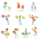 Shopaholic People Happy And Excited Running With Paper Shopping Bags Smiling Carton Characters Set Stock Image