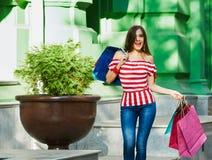 Shopaholic pretty woman Stock Photos