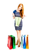 Shopaholic scans your purchases in packages Stock Photo