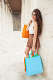 Shopaholic. Shopping love. Beautiful happy woman with bags. Royalty Free Stock Images
